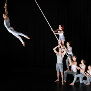 performers holding rope