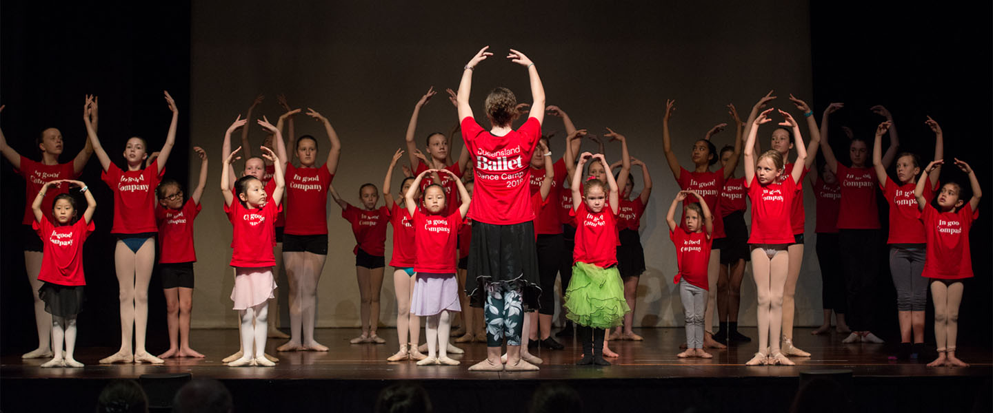 Children posing on stage at Dance Camp